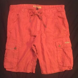True Religion red linen cargo shorts, size 40